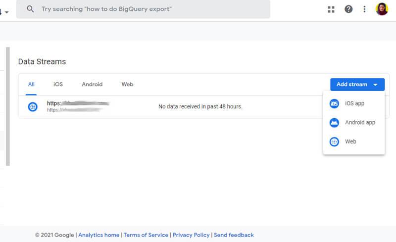 ساخت data stream در گوگل آنالیتیکس 4