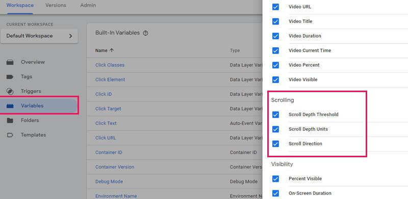 تعیین متغیر variables در گوگل تگ منیجر