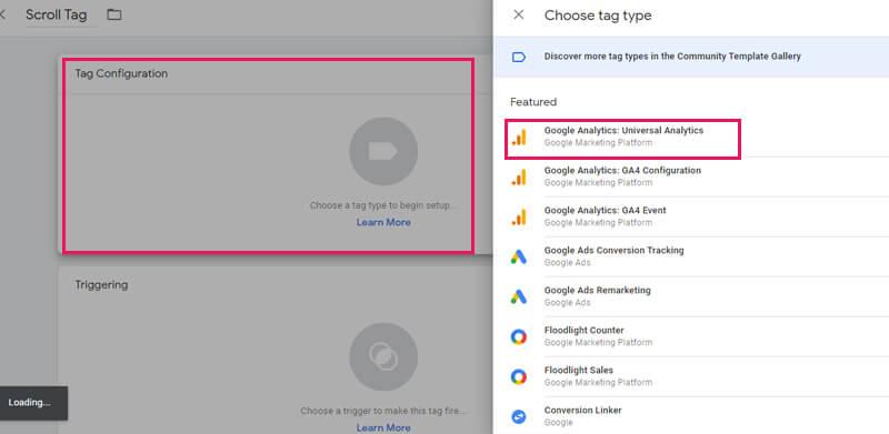 نوع تگ اسکرول دپت در گوگل تگ منیجر