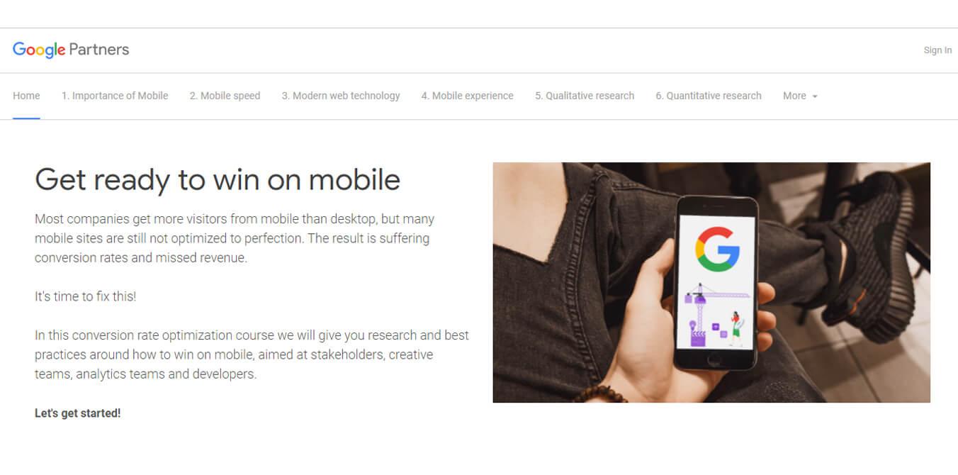 صفحه اول دوره Cro گوگل