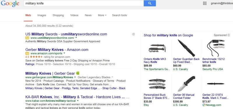 تبلیغات چاقو در گوگل ادز ممنوع شد