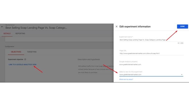 روی Link to a Google Analytics View کلیک کنید